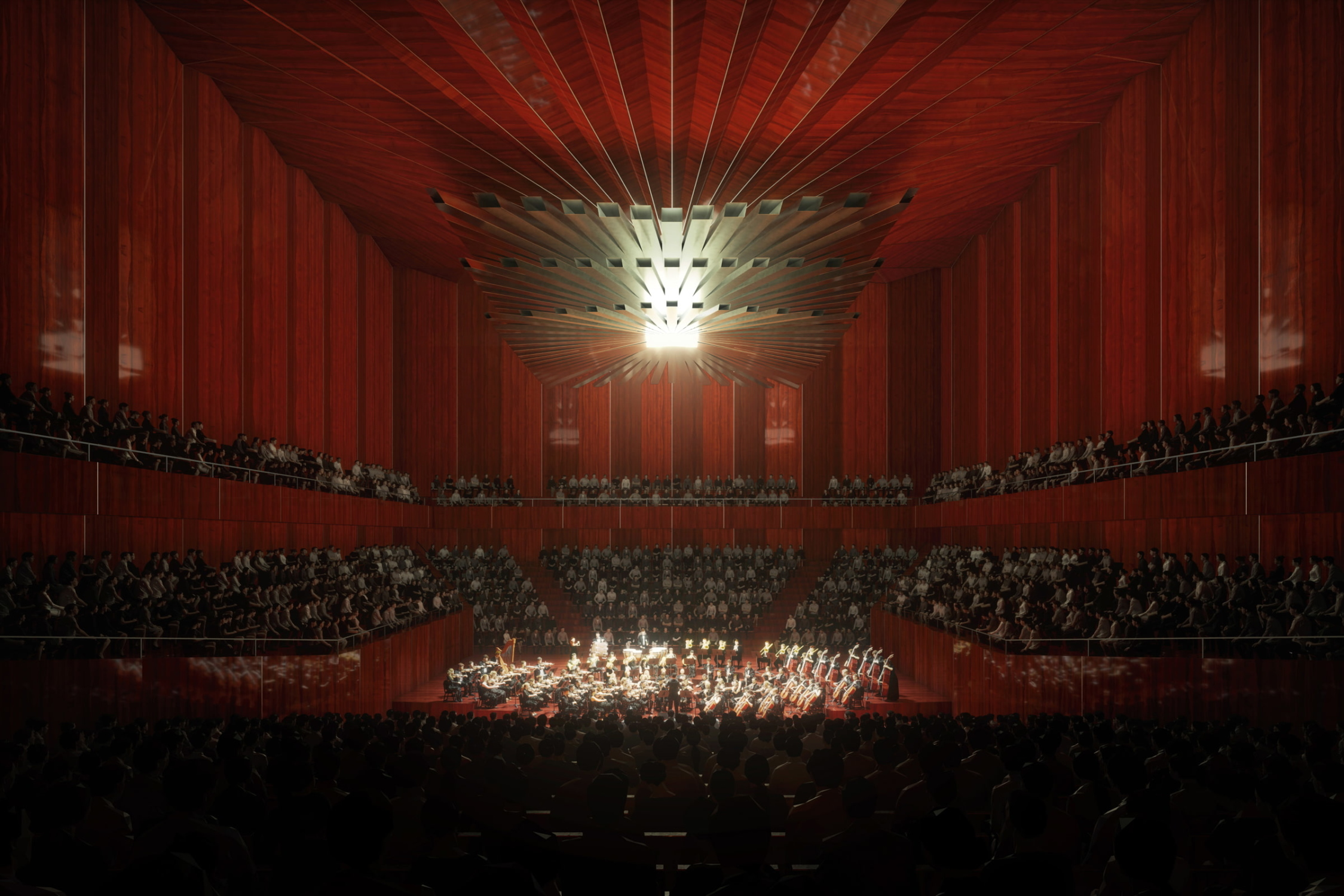 A visualization of the Shenzhen Opera House Concert Hall interior.